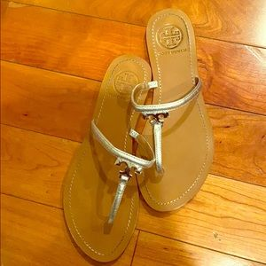 Tory Burch Silver Slippers